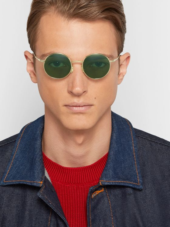 Native Sons Seeger Round-Frame Gold-Tone Sunglasses
