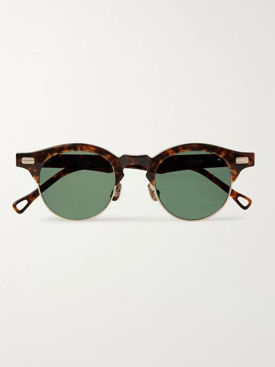 Native Sons Hitchcock Round-Frame Tortoiseshell Acetate and Gold-Plated Sunglasses
