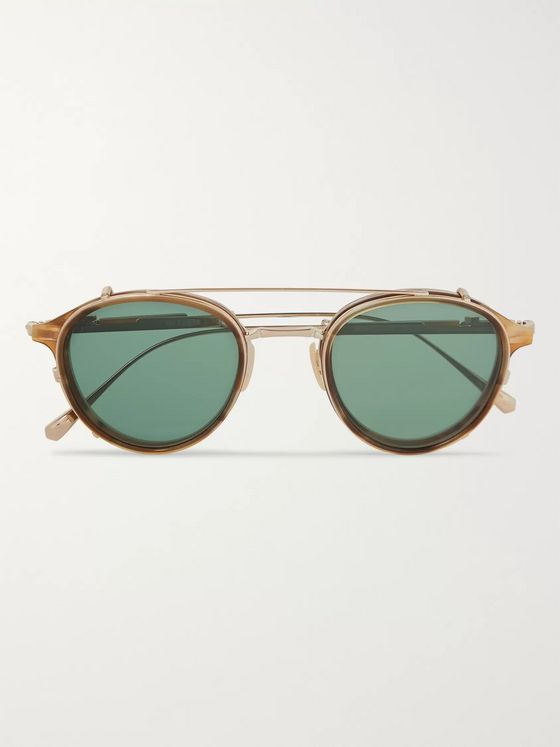 Mr Leight Mulholland Round-Frame 12-Karat White Gold and Acetate Glasses With Clip-On UV Lenses