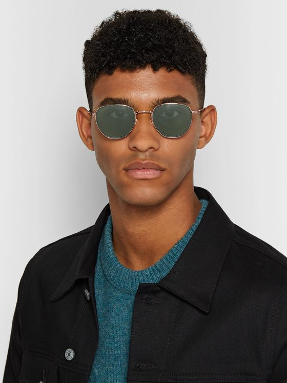 MR LEIGHT Roku S Round-Frame 12-Karat White Gold and Horn Sunglasses