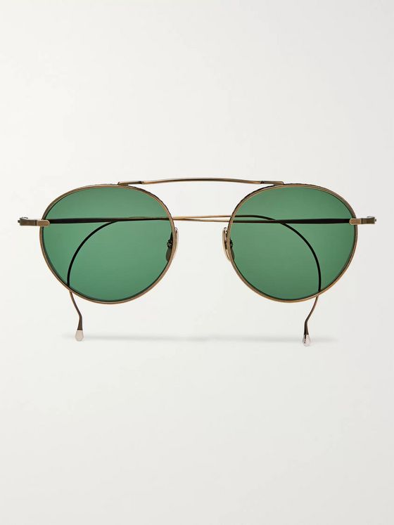 Mr Leight Rei S Round Frame Gold-Tone Sunglasses