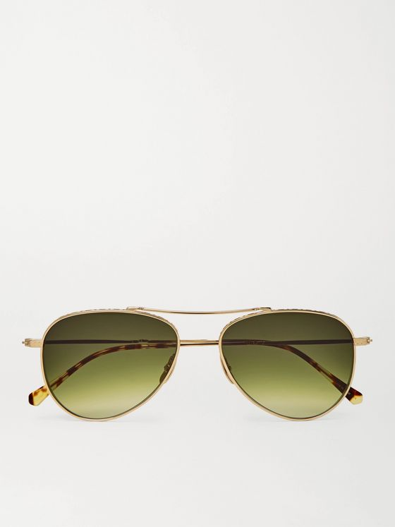 Mr Leight Ichi S Aviator-Style Gold-Tone Sunglasses
