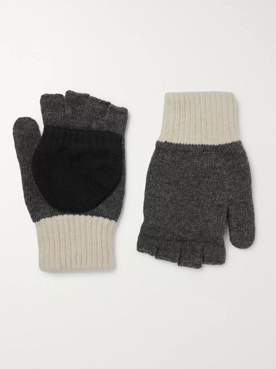 Oliver Spencer Oli's Colour-Block Wool-Blend Fingerless Gloves