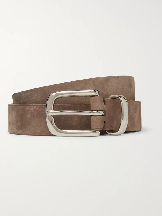 Oliver Spencer 2.5cm Taupe Coniston Nubuck Belt