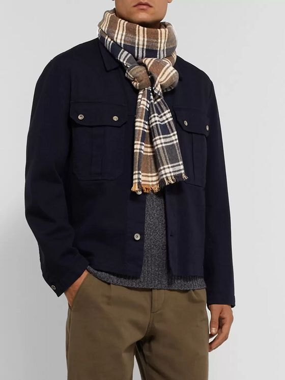 Oliver Spencer Checked Organic Cotton Scarf
