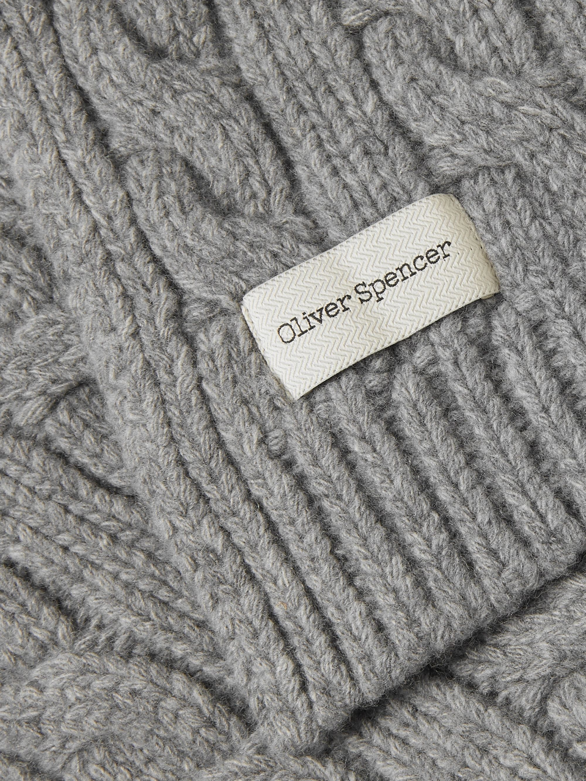Oliver Spencer Arbury Cable-Knit Wool Scarf