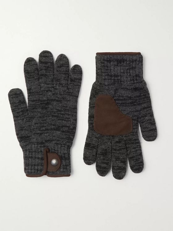 Oliver Spencer Suede-Trimmed Wool-Blend Gloves