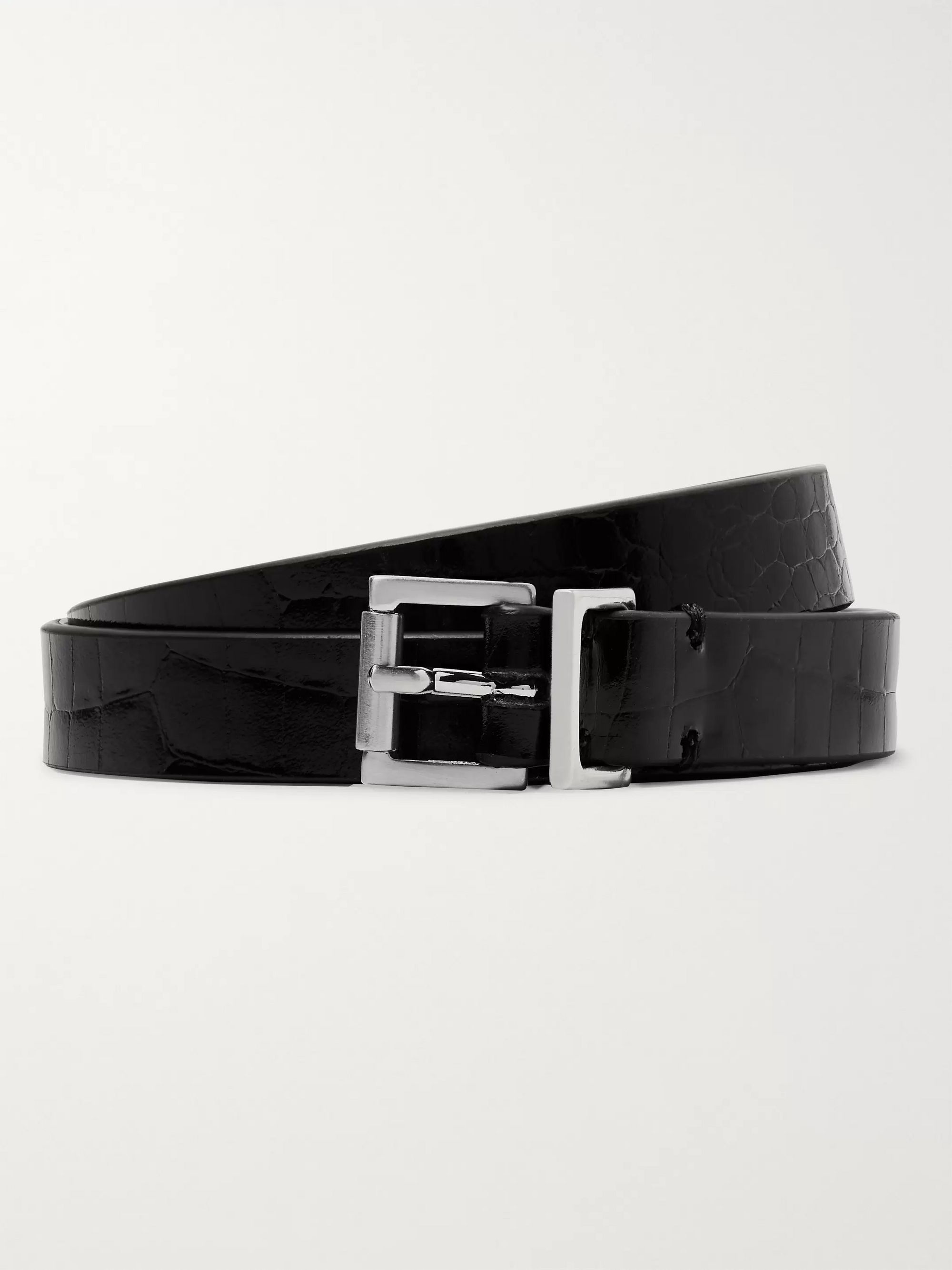 Maison Margiela 1.5cm Black Croc-Effect Leather Belt