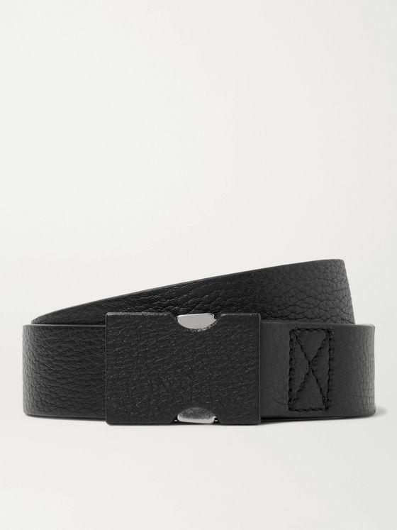 MAISON MARGIELA 3cm Black Full-Grain Leather Belt