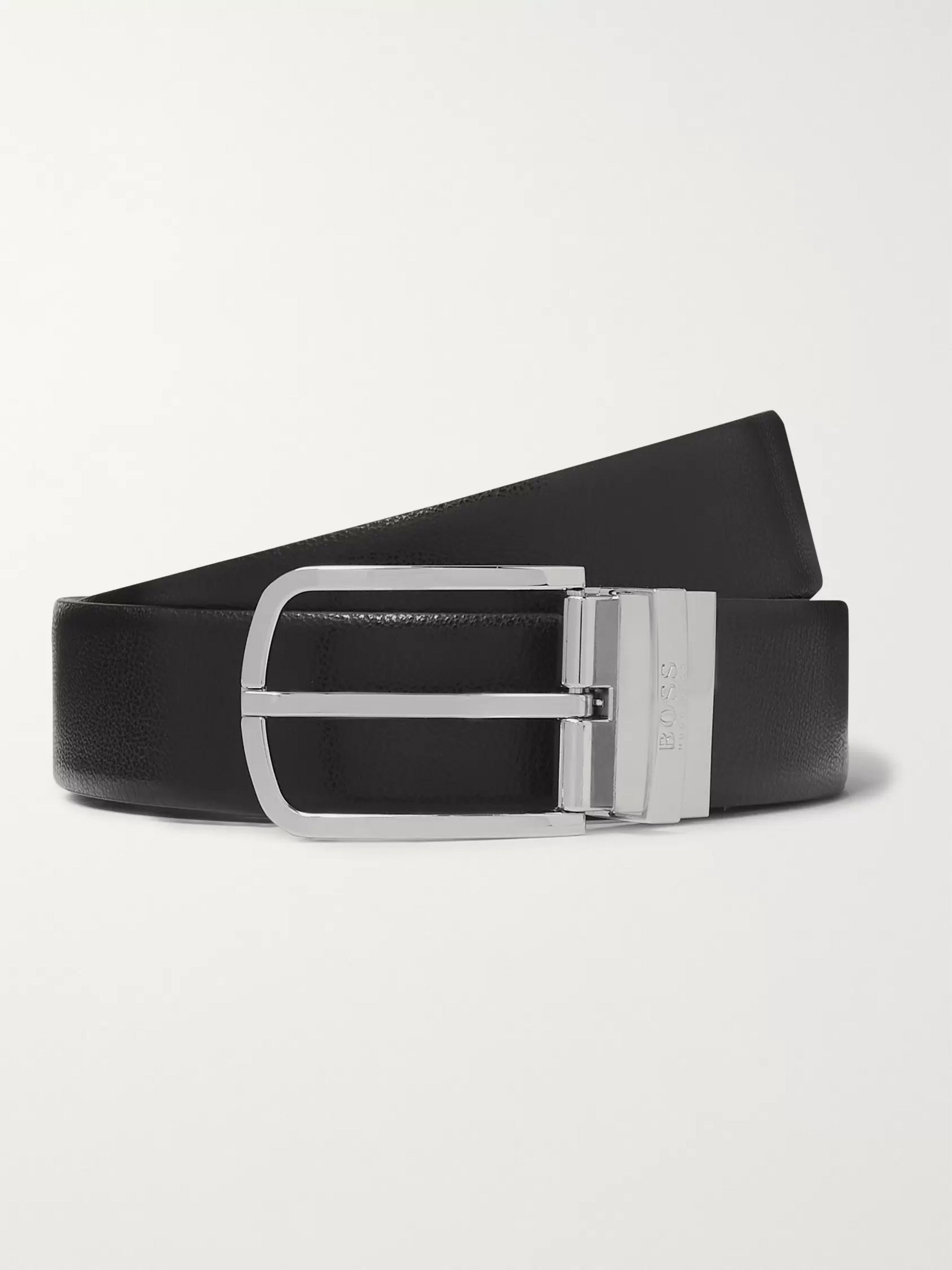 Hugo Boss 3.5cm Black and Brown Reversible Leather Belt