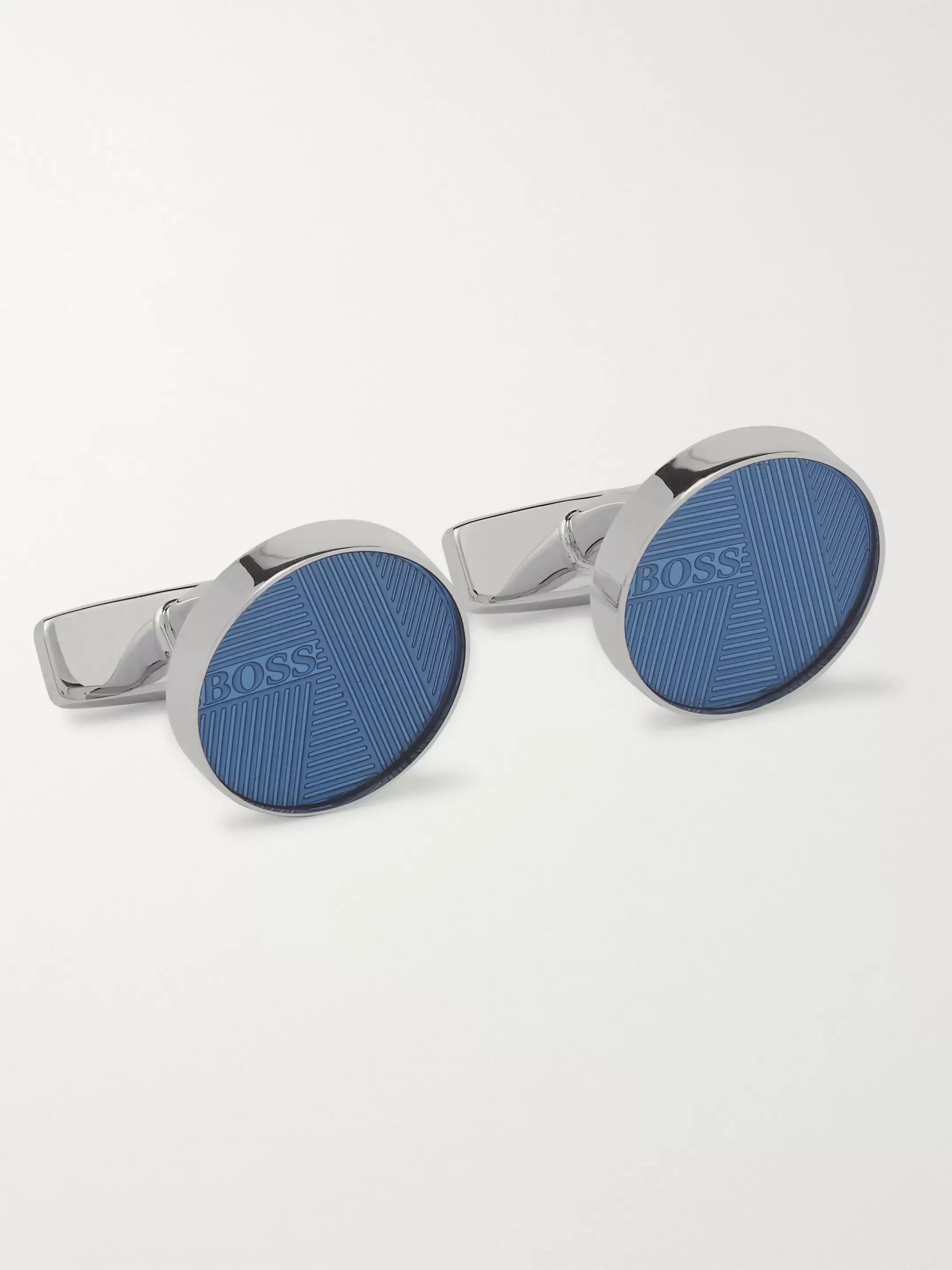 Hugo Boss Colie Engine-Turned Silver-Tone and Enamel Cufflinks
