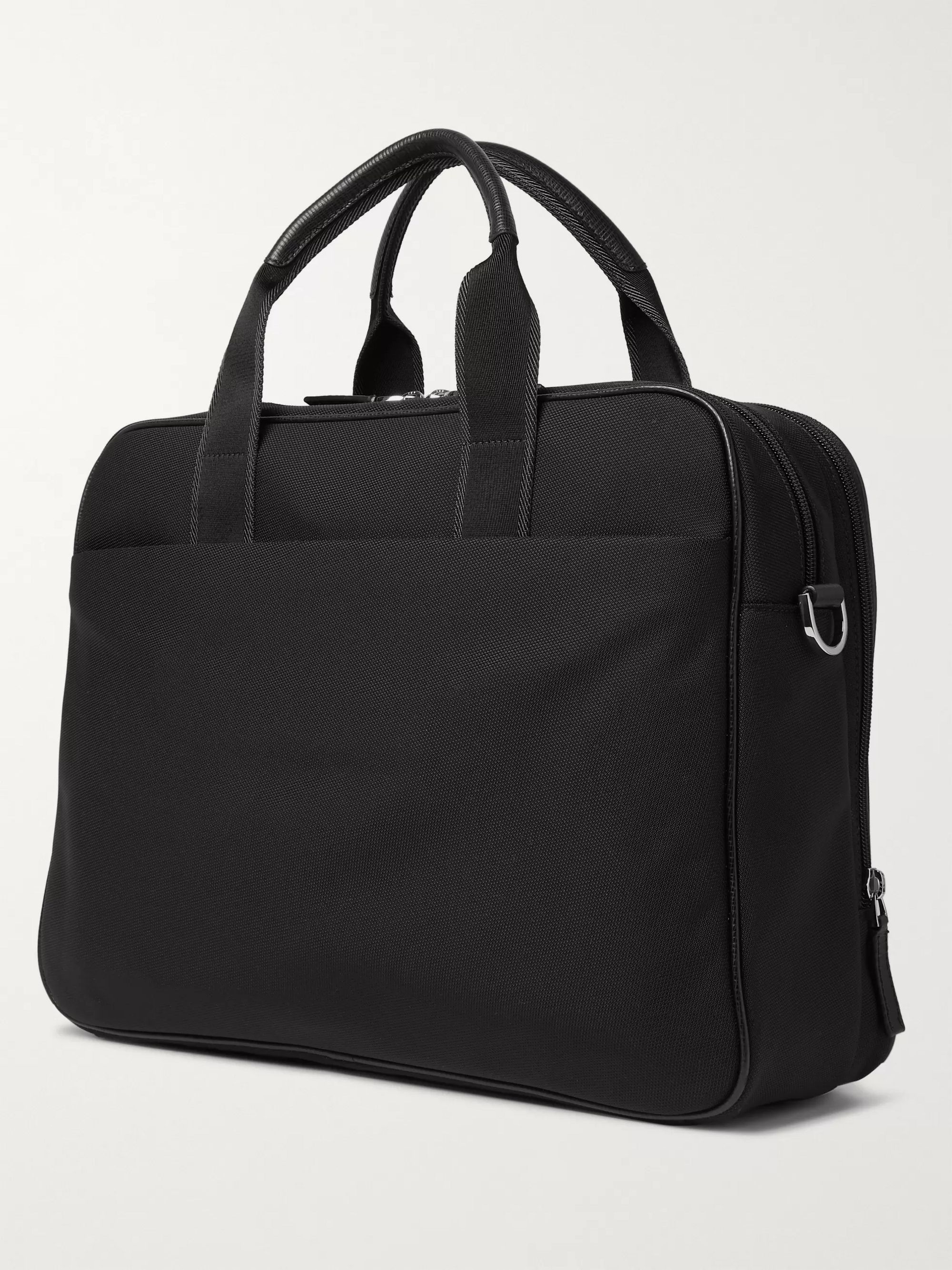 Hugo Boss Meridian Full-Grain Leather-Trimmed Nylon Briefcase