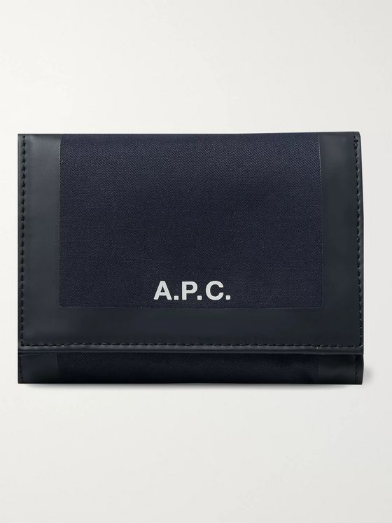A.P.C. Savile Logo-Print Tape-Trimmed Tech-Canvas Billfold Wallet