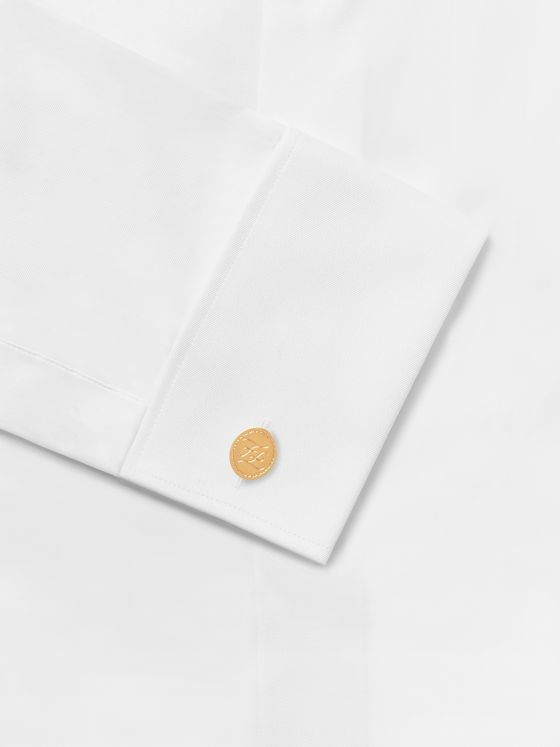 Fendi Logo-Engraved Gold-Tone Cufflinks