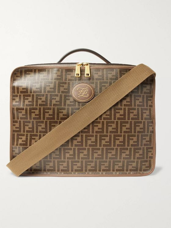 Fendi Leather-Trimmed Logo-Jacquard Coated-Canvas Travel Case