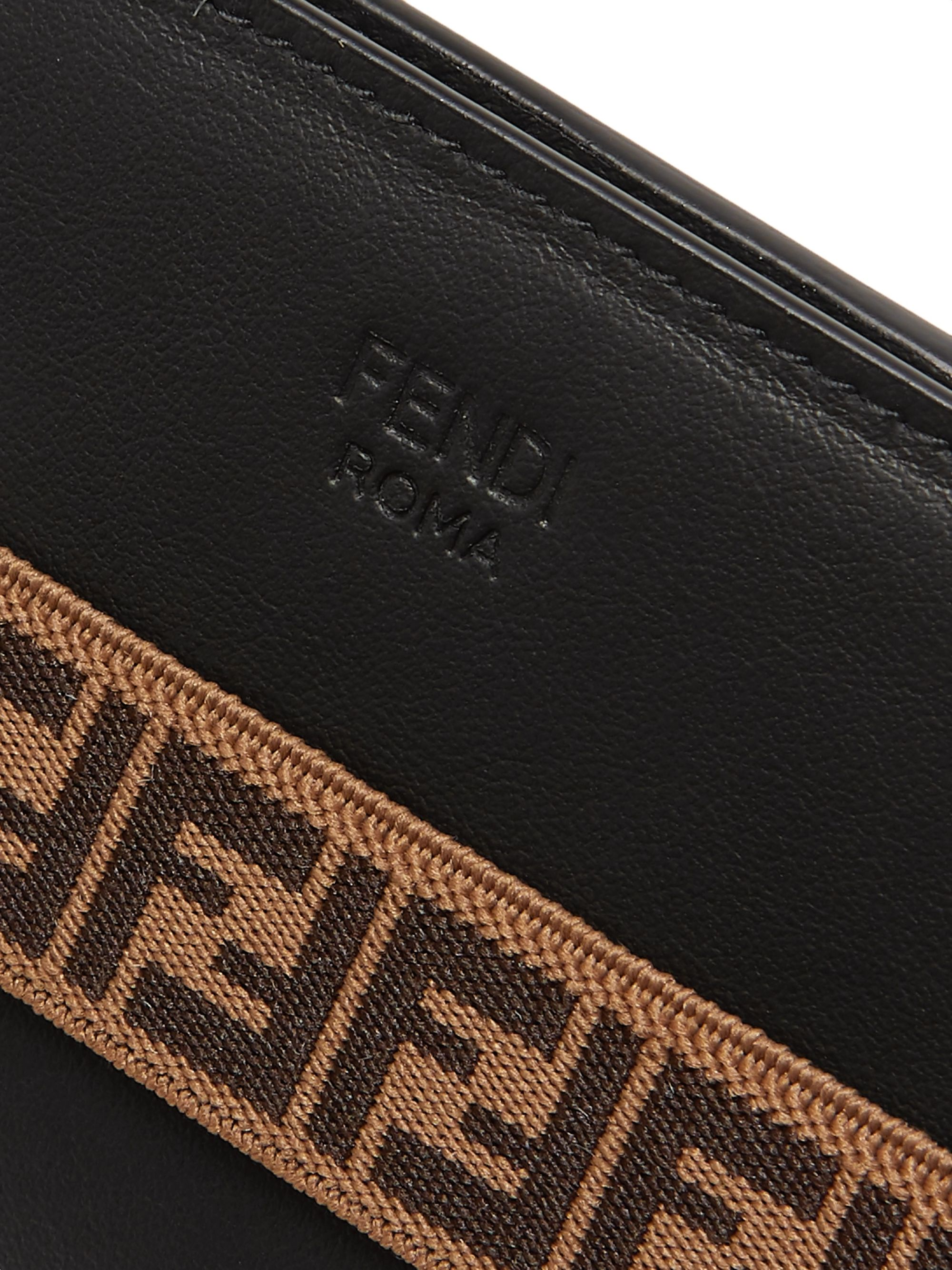 Fendi Logo-Jacquard Stretch Webbing-Trimmed Leather iPhone X Case