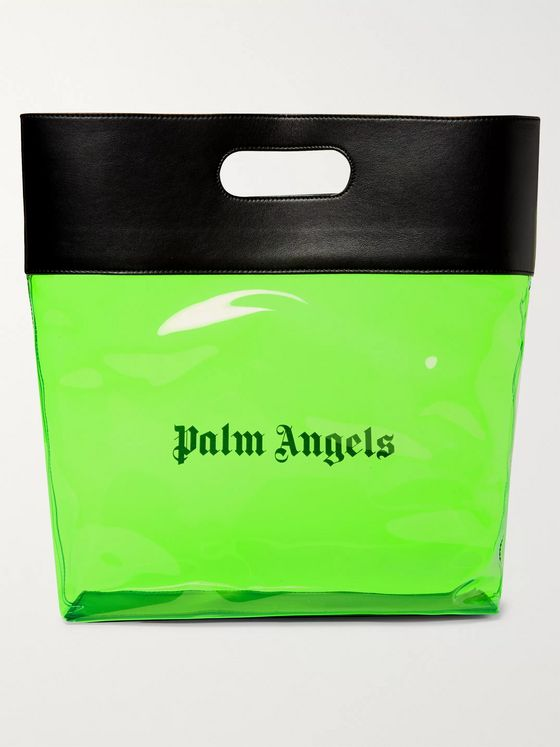 Palm Angels Leather-Trimmed Logo-Print PU Tote Bag