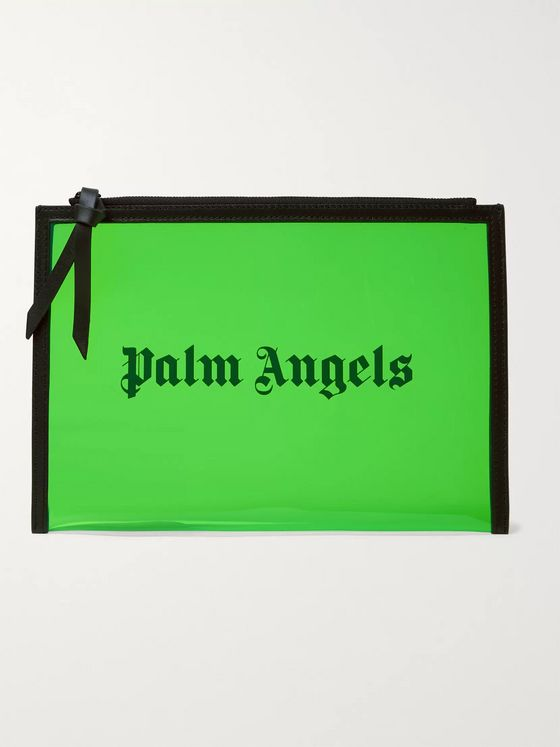 Palm Angels Alien Logo-Print Leather-Trimmed PVC Pouch