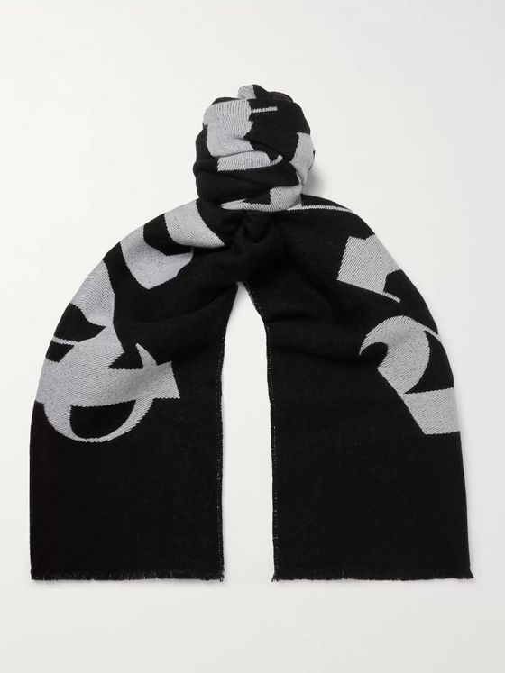 Palm Angels Logo-Intarsia Wool Scarf