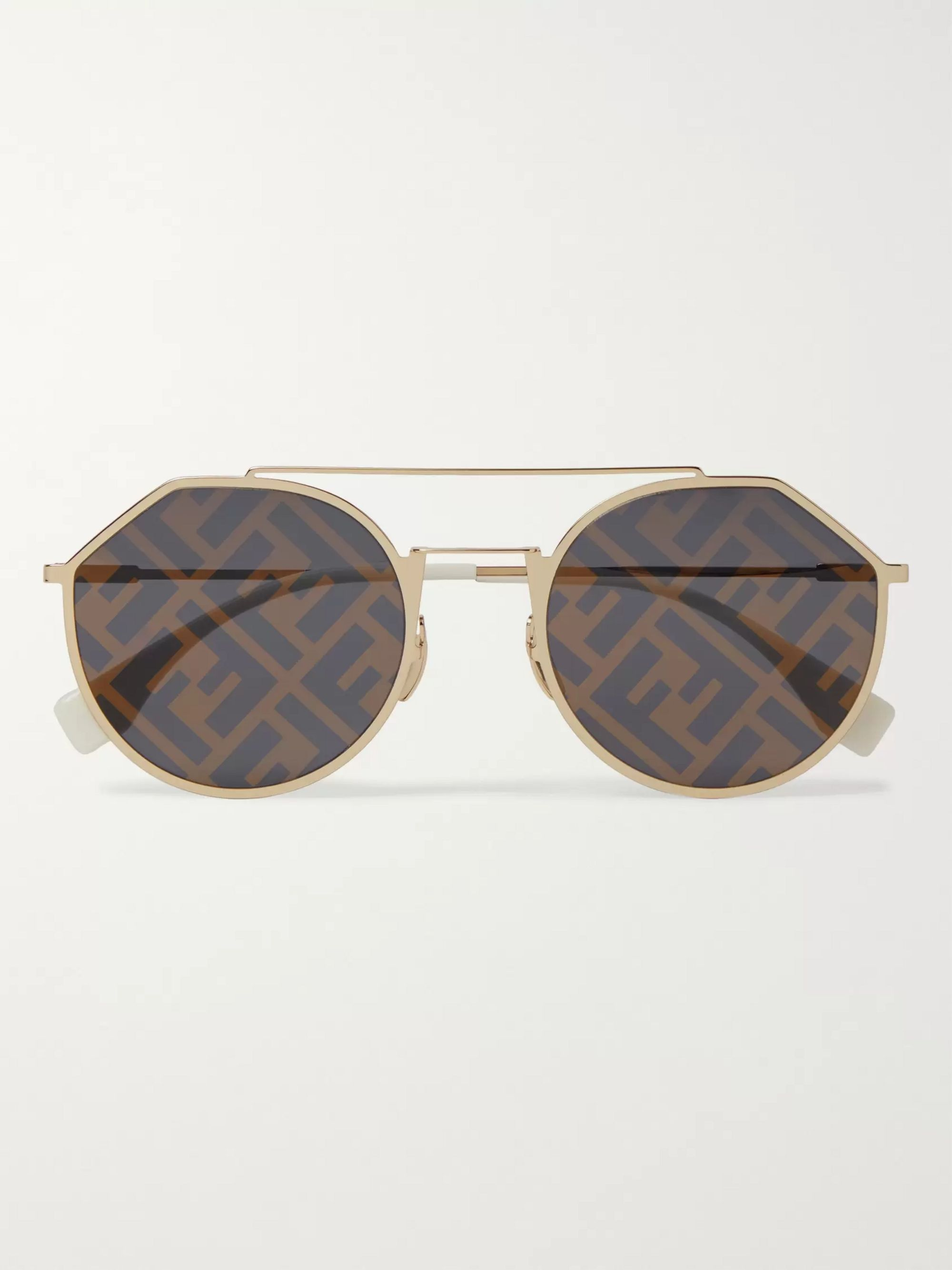 logo-print-aviator-style-gold-tone-sunglasses by fendi
