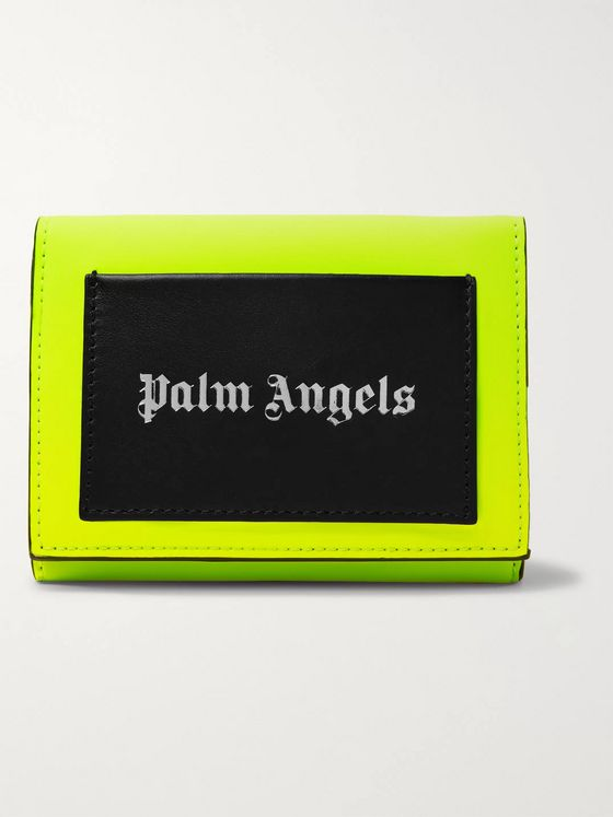 Palm Angels Neon Colour-Block Printed Leather Trifold Wallet