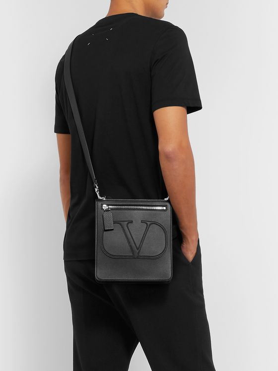 Valentino Valentino Garavani Logo-Detailed Leather Messenger Bag