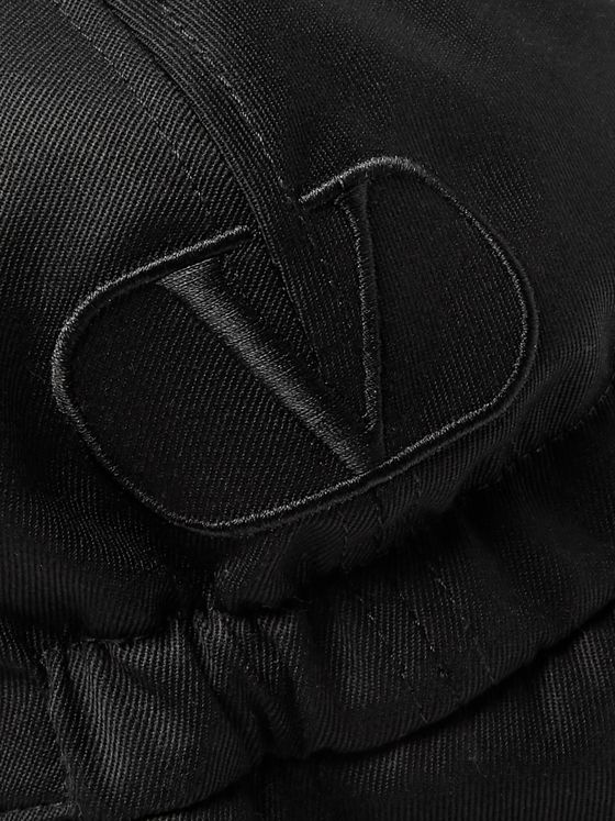 Valentino Valentino Garavani Logo-Embroidered Wool-Twill Trapper Hat