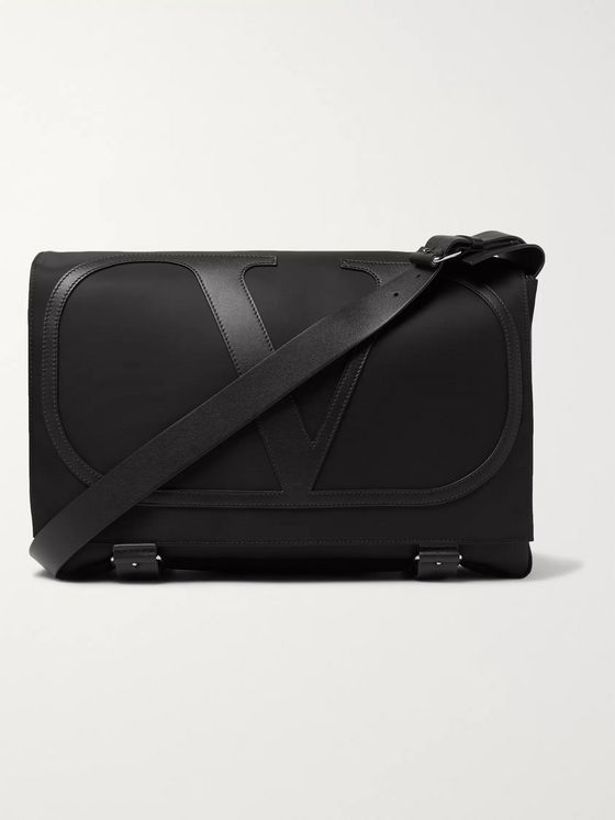 VALENTINO Valentino Garavani Logo-Detailed Leather-Trimmed Nylon Messenger Bag