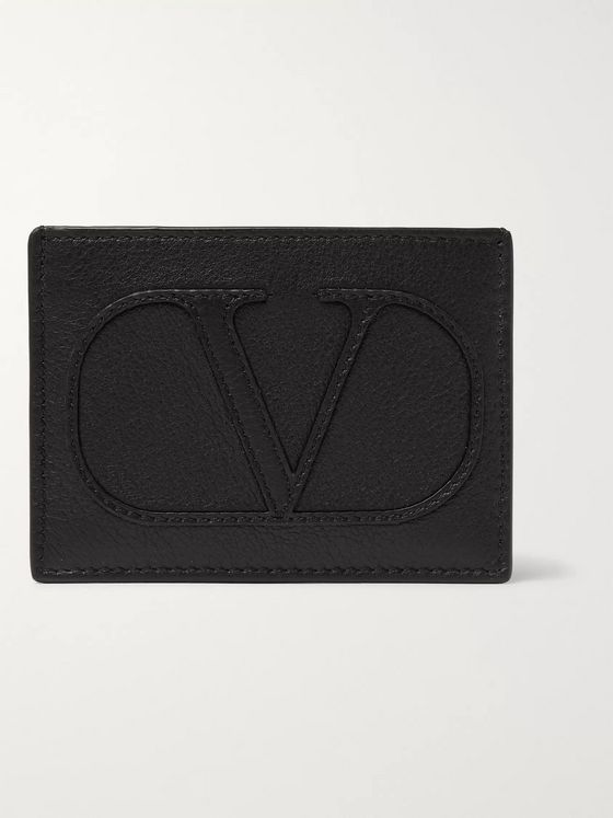 VALENTINO Valentino Garavani Logo-Appliquéd Full-Grain Leather Cardholder
