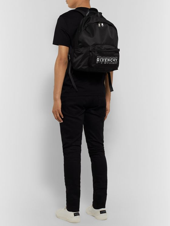 Givenchy Leather-Trimmed Logo-Print Nylon Backpack