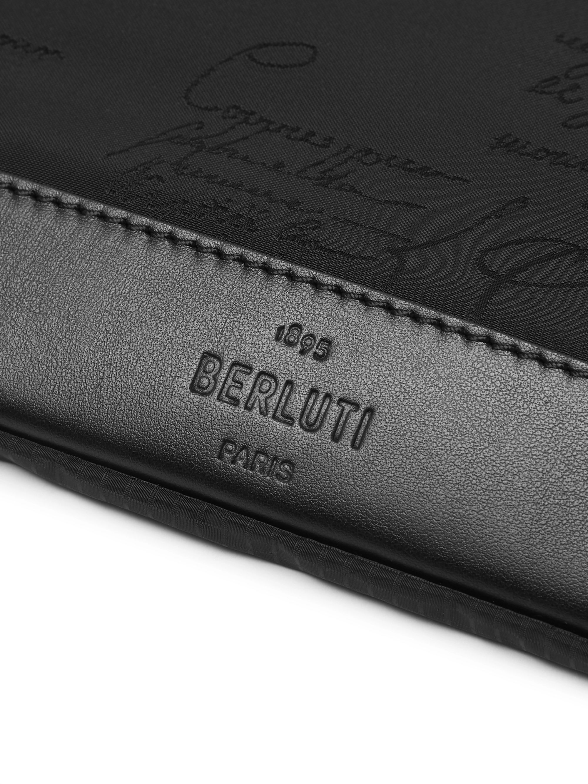 Berluti Scritto Leather-Trimmed Nylon Zip-Around Pouch