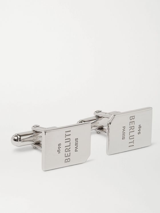 BERLUTI Logo-Engraved Palladium-Plated Cufflinks