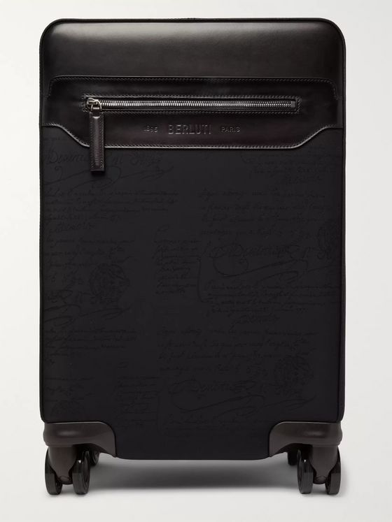 Berluti Formula 1004 Scritto Nylon and Leather Carry-On Suitcase