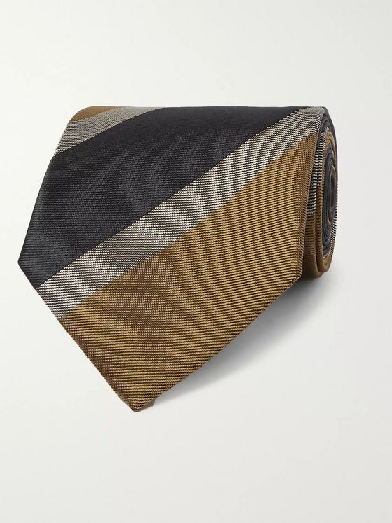 Dries Van Noten 8cm Striped Silk Tie
