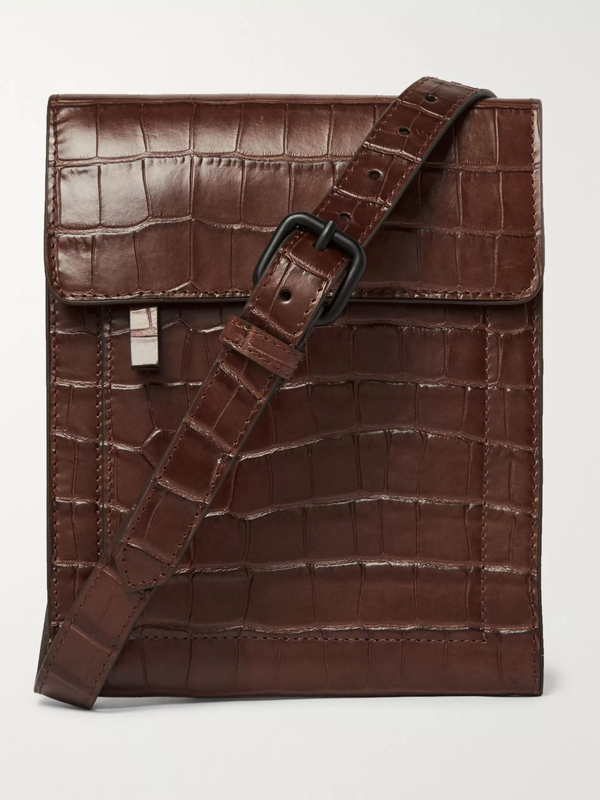 Dries Van Noten Croc-Effect Leather Messenger Bag
