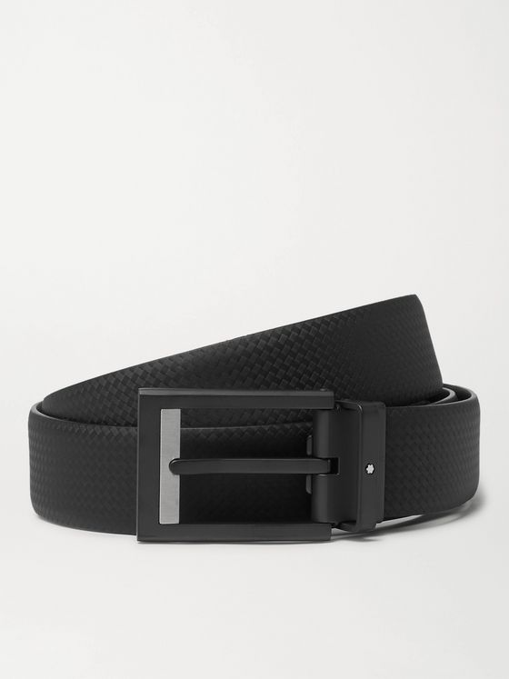 MONTBLANC 3cm Black Textured-Leather Belt