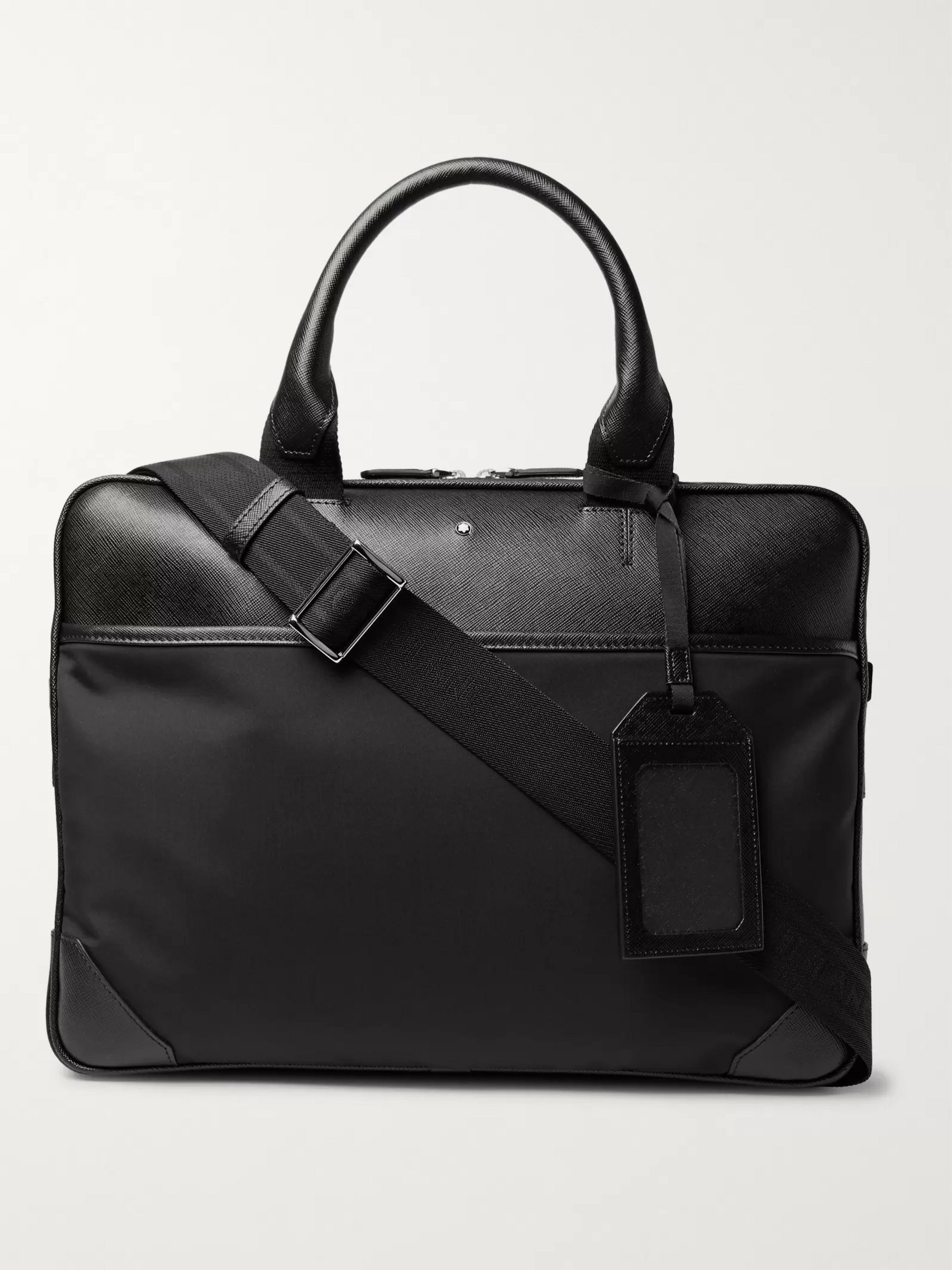 Montblanc Sartorial Jet Nylon-Panelled Cross-Grain Leather Briefcase