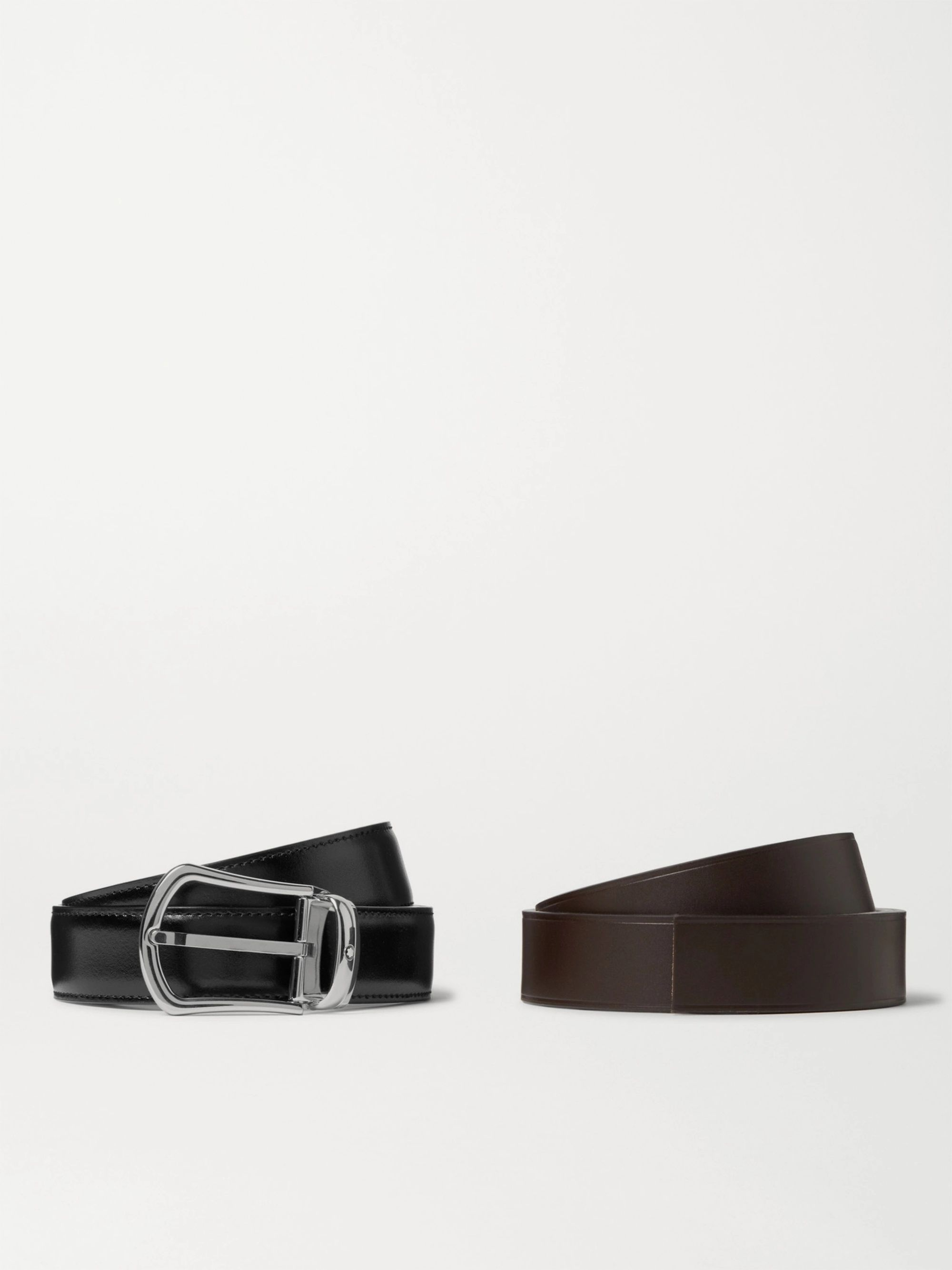 Montblanc Set of Two 3cm Black and Brown Leather Belts