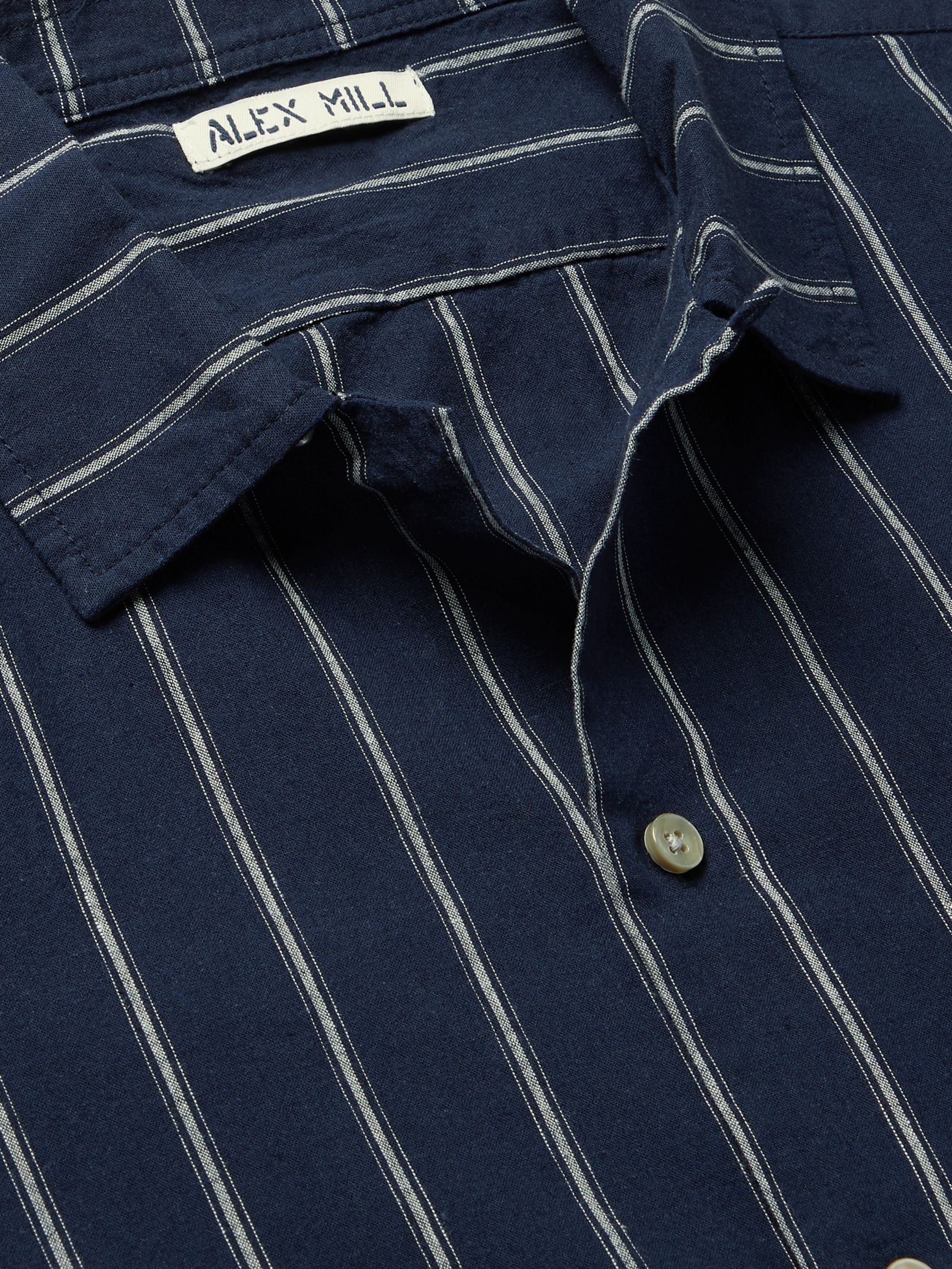 Alex Mill Camp-Collar Striped Cotton and Linen-Blend Shirt