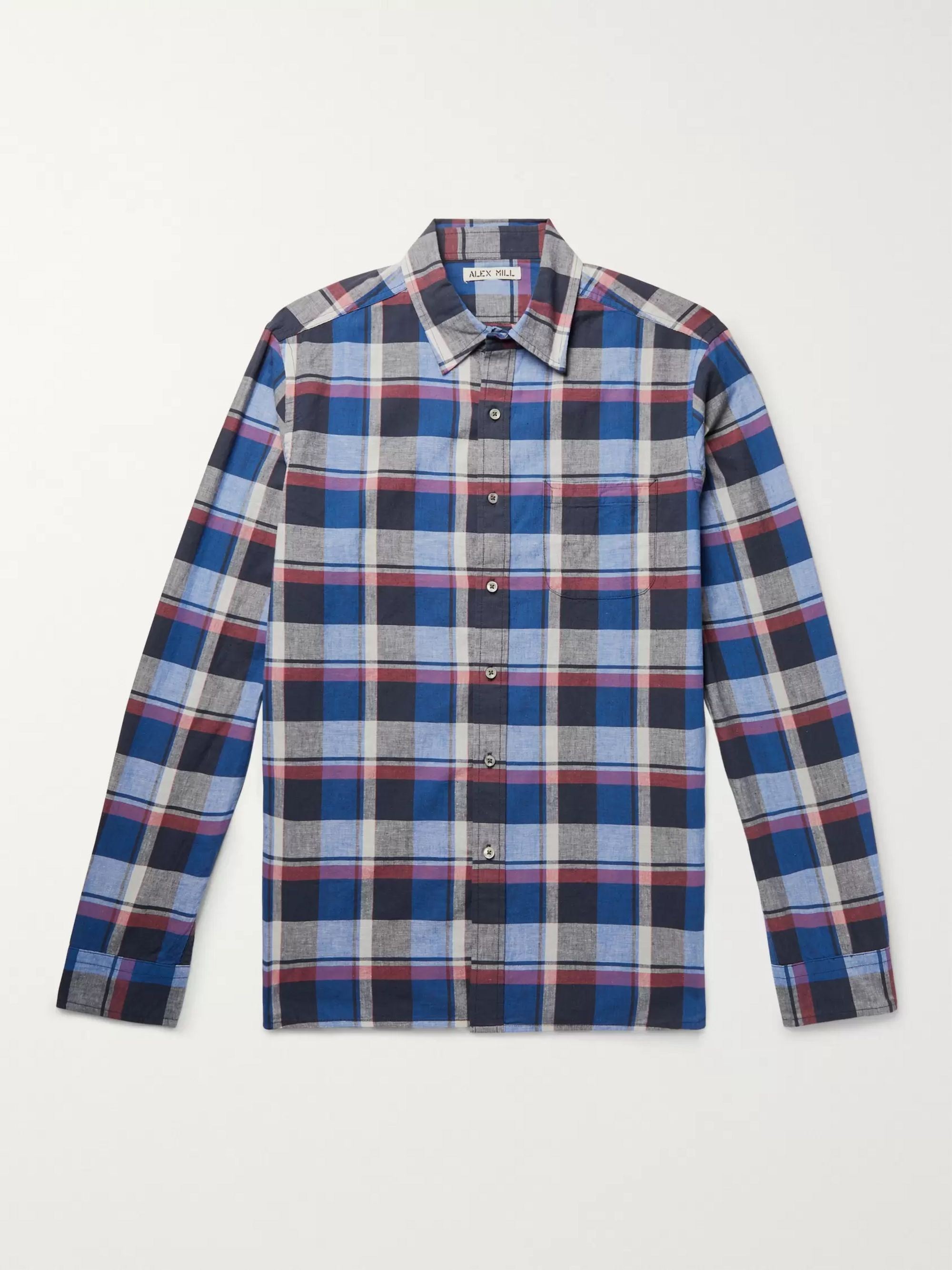 Alex Mill Checked Slub Cotton and Linen-Blend Shirt