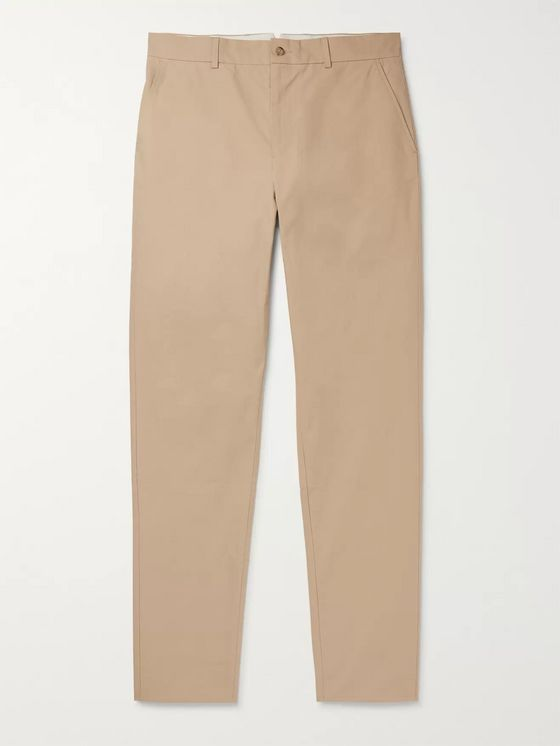 De Bonne Facture Slim-Fit Tapered Brushed-Cotton Trousers