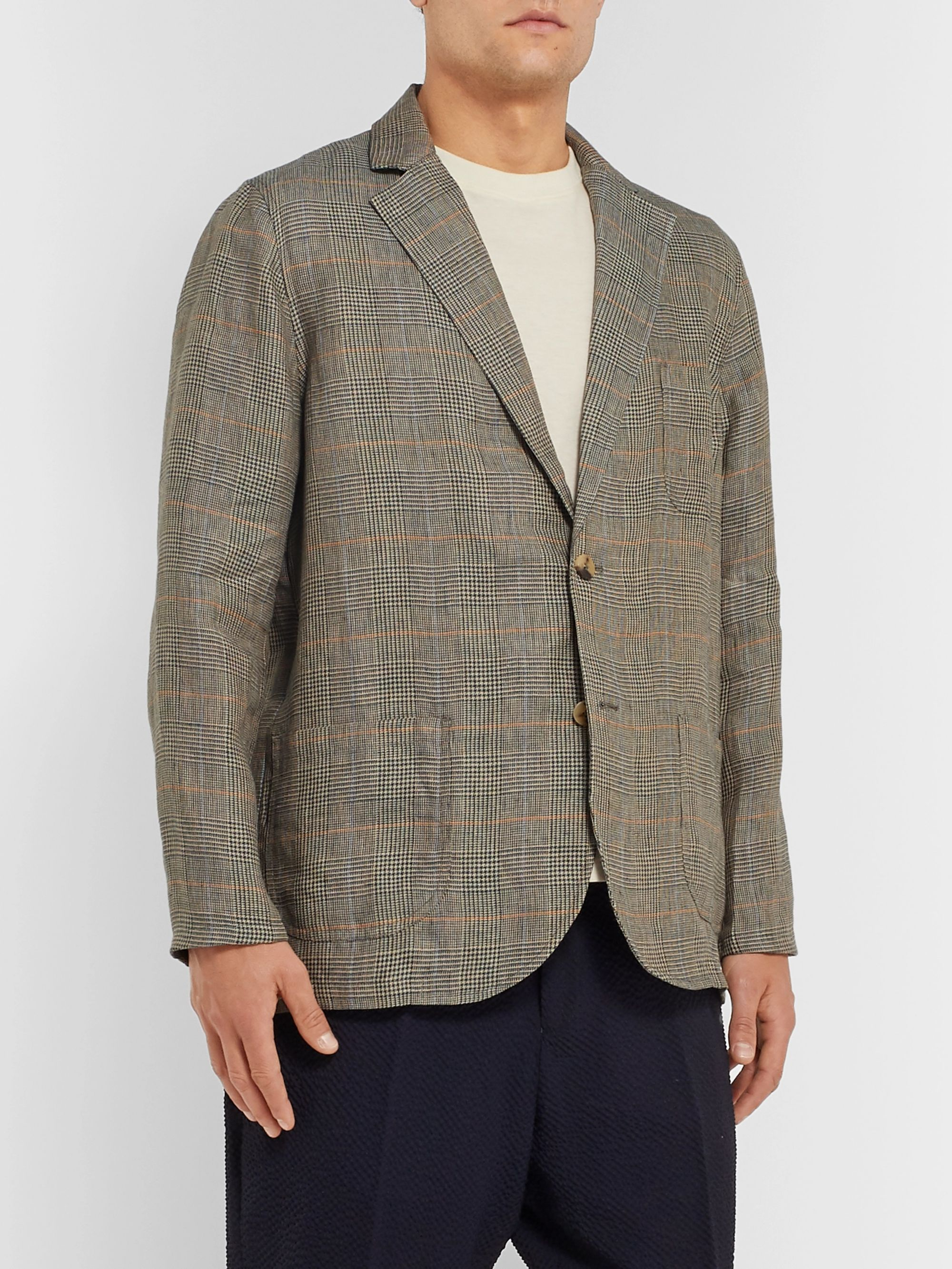 De Bonne Facture Unstructured Prince of Wales Checked Washed-Linen Blazer