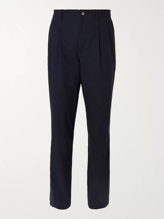 De Bonne Facture Navy Pleated Brushed-Cotton Trousers