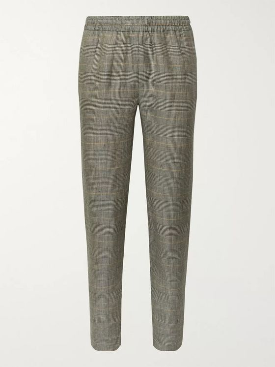 De Bonne Facture Easy Prince of Wales Checked Washed-Linen Drawstring Trousers
