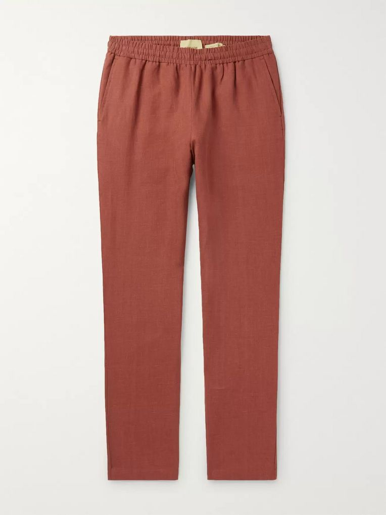 De Bonne Facture Tapered Brushed-Linen Drawstring Trousers