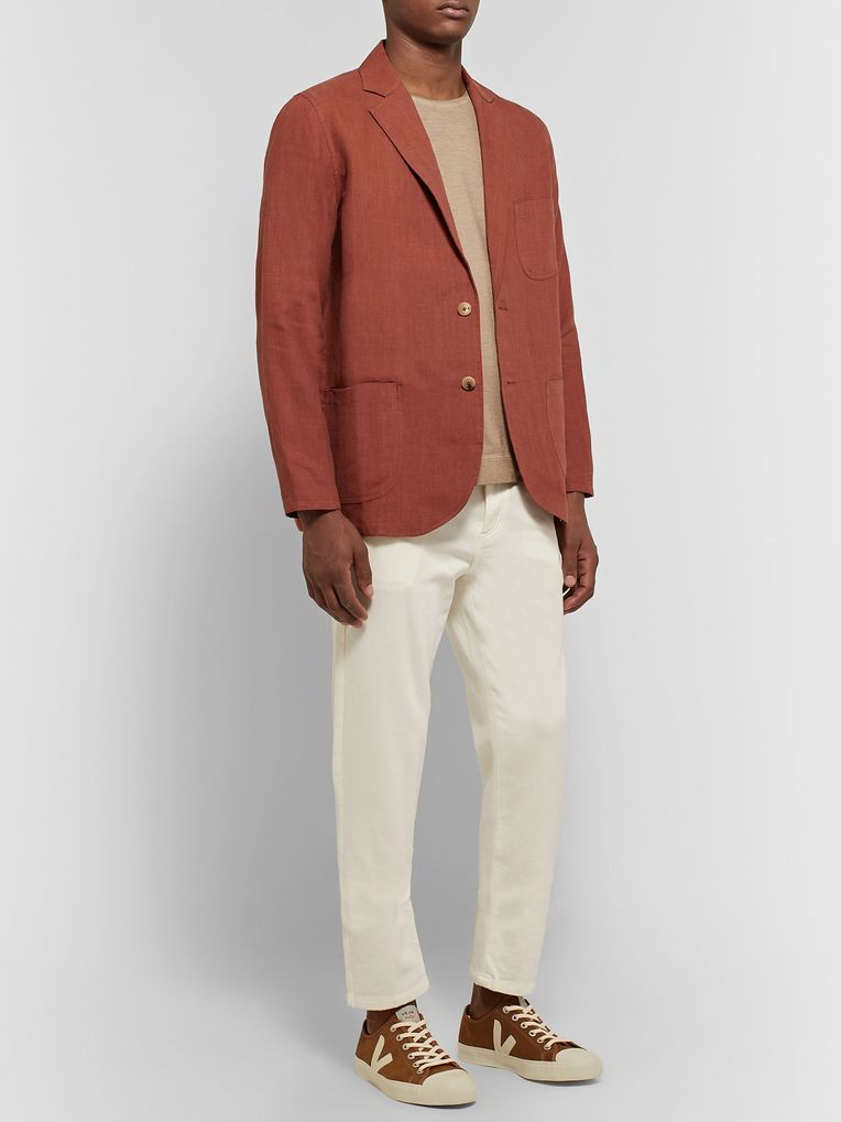 De Bonne Facture Brick Brushed-Linen Suit Jacket