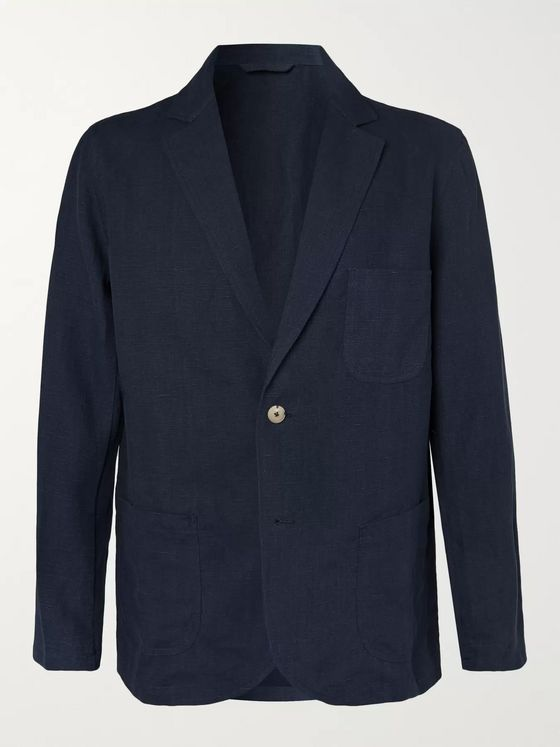 De Bonne Facture Navy Brushed-Linen Suit Jacket