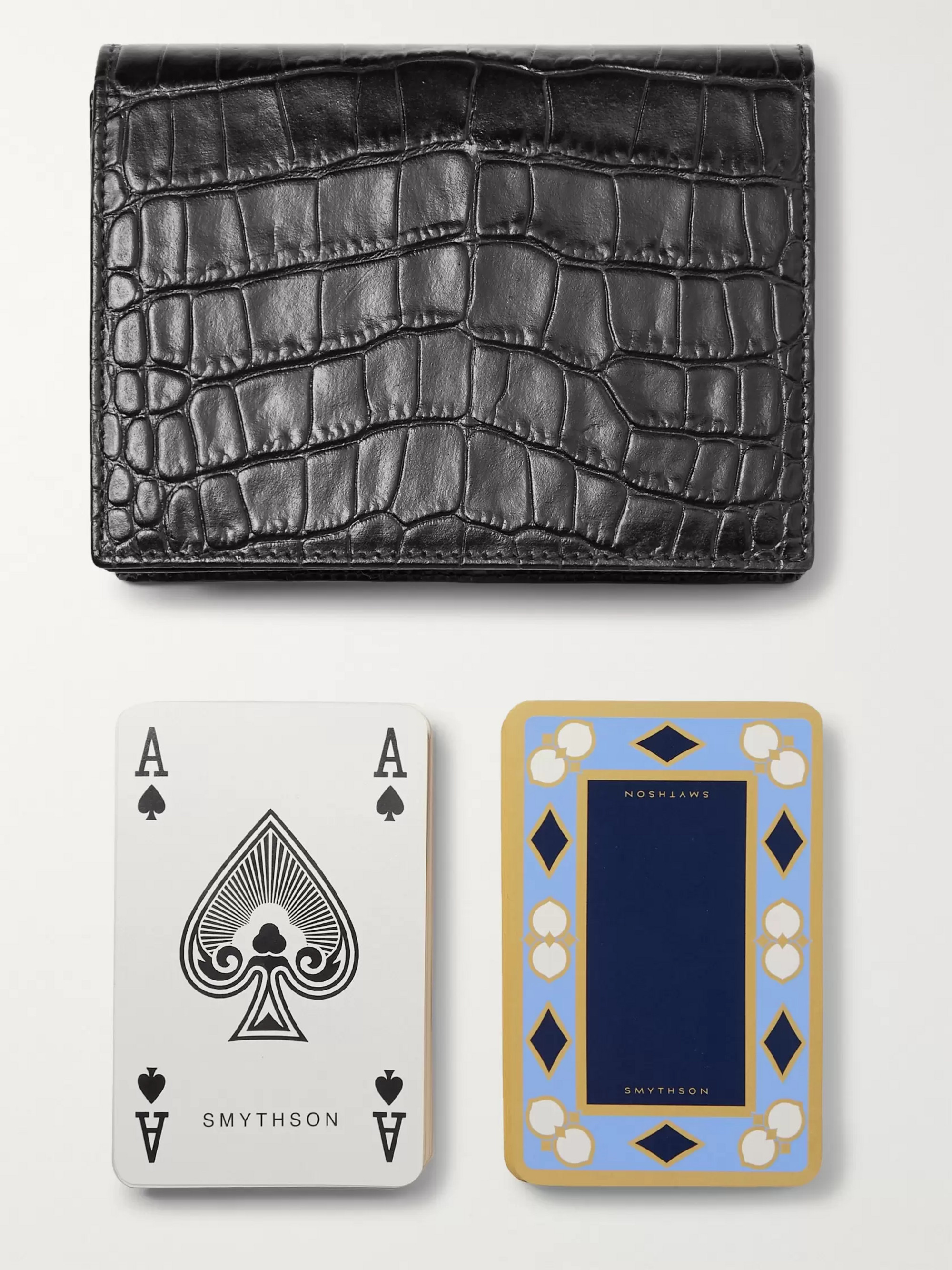 Smythson Mara Croc-Effect Leather Bridge Card Case