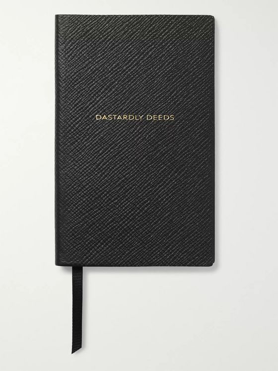 Smythson Panama Dastardly Deeds Cross-Grain Leather Notebook