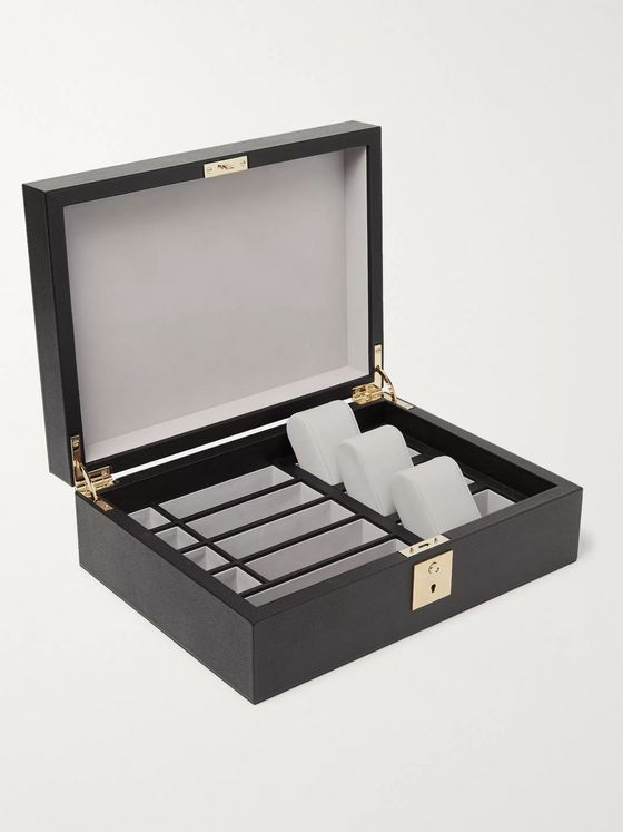 Smythson Grosvenor Full-Grain Leather Lockable Accessories Box
